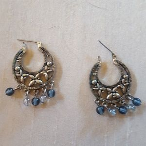 Old earrings, silver with blue beads, cute